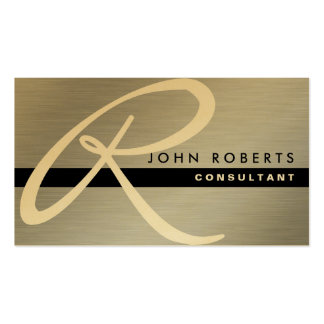 Professional Elegant Monogram Gold Silver Metal Double-Sided Standard Business Cards (Pack Of 100)