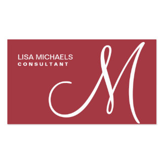 Professional Elegant Monogram Makeup Artist Red Double-Sided Standard Business Cards (Pack Of 100)