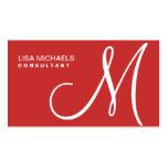 Professional Elegant Monogram Makeup Artist Red Business Card