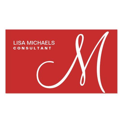 Professional Elegant Monogram Makeup Artist Red Business Card Template