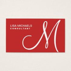 Professional Elegant Monogram Makeup Artist Red Business Card at Zazzle