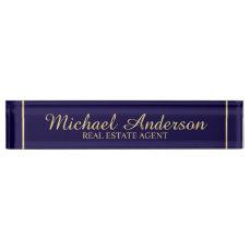 Professional Elegant Navy Blue and Gold Desk Name Plate