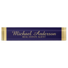 Professional Elegant Navy Blue and Gold Name Plate