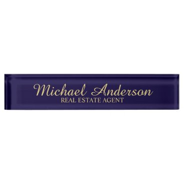 Lawyer Themed Professional Elegant Navy Blue and Gold Nameplate