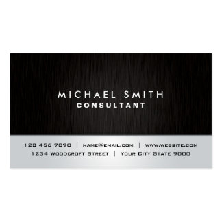 Professional Elegant Plain Black Silver Modern Double-Sided Standard Business Cards (Pack Of 100)