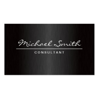 Professional Elegant Plain Metal Black Groupon Double-Sided Standard Business Cards (Pack Of 100)