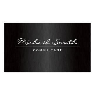 Professional Elegant Plain Modern Metal Black Double-Sided Standard Business Cards (Pack Of 100)