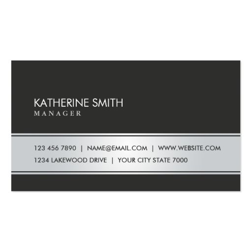 Professional Elegant Plain Simple Black and Silver Business Card Templates