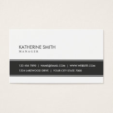 Professional Elegant Plain Simple Black And White Business Card at Zazzle