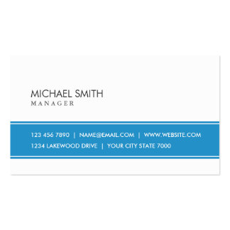 Professional Elegant Plain Simple Blue and White Double-Sided Standard Business Cards (Pack Of 100)