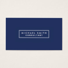 Professional Elegant Plain Simple Modern Blue Business Card at Zazzle