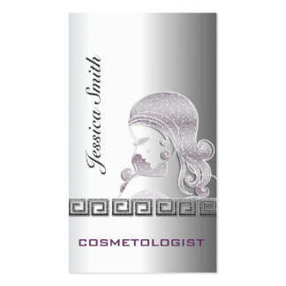 Professional elegant silver glittery silhouette business card template