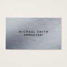 Professional Elegant Silver Metal Modern Plain Business Card at Zazzle