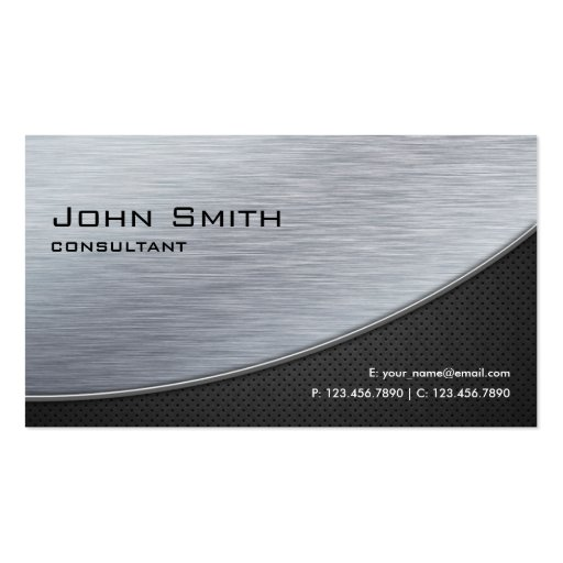 Professional Elegant Silver Modern Metal Black Business Card Templates