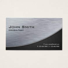 Professional Elegant Silver Modern Metal Black Business Card at Zazzle