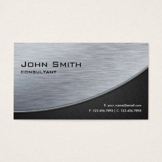 Professional Elegant Silver Modern Metal Black Business Card