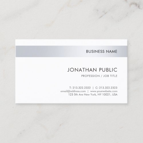 Professional Elegant Silver Simple Template Business Card