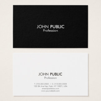 Professional Elegant Simple Design Black and White Business Card