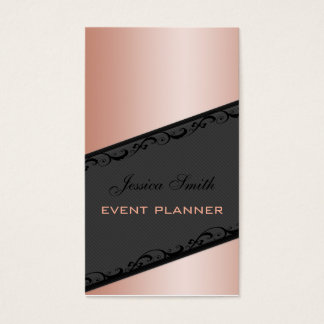 Professional elegant stripes lace champagne rose business card