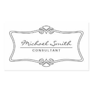 Professional Elegant Vintage Art Deco White Business Card Template