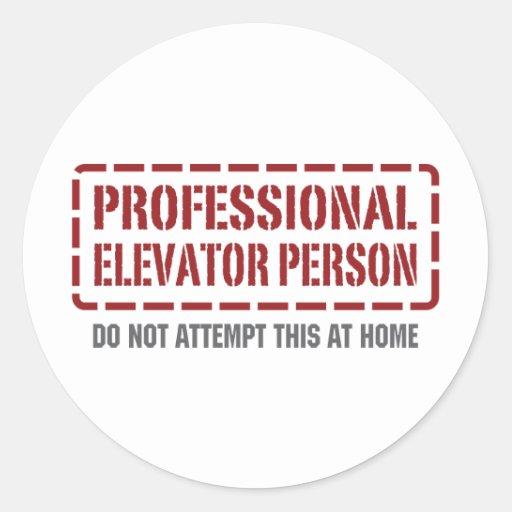 Professional Elevator Person Round Stickers