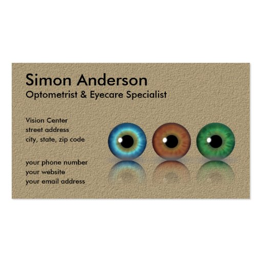 Professional Eyeballs Optometry Business Cards