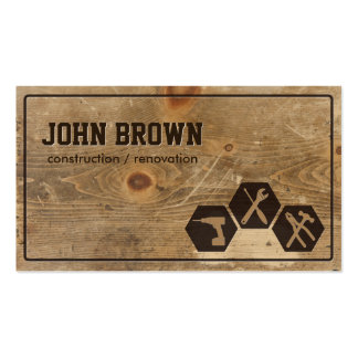 Professional Faux Wood Construction Carpentry Business Card