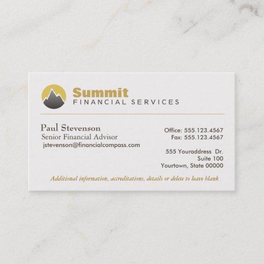 Professional Financial Advisor Analyst Finance Business Card