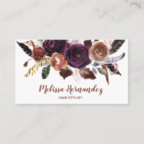 Professional Floral Hair Stylist Plum Butterum Business Card