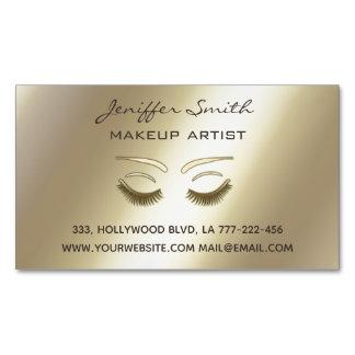 Professional glam gold elegant modern lashes business card magnet