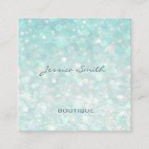 Professional glamorous modern elegant plain bokeh square business card