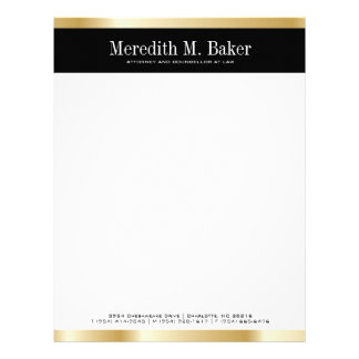 Professional Gold and Black Letterhead