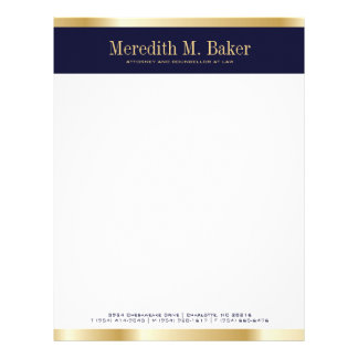 Professional Gold and Navy Letterhead