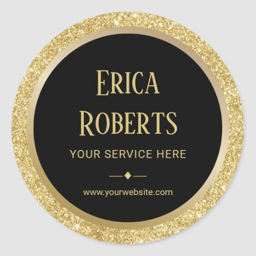 Professional Gold Glitter Border Modern Business Classic Round Sticker