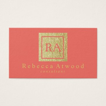 Professional Business Professional Gold Monogram Business Cards Coral