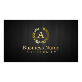 Professional Gold Wreath Monogram Photography Business Card