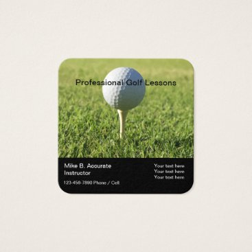 Beach Themed Professional Golf Lessons Square Business Card
