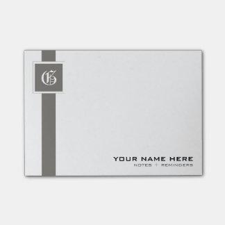 Professional Gray & White Stripe Monogram Post-it Notes