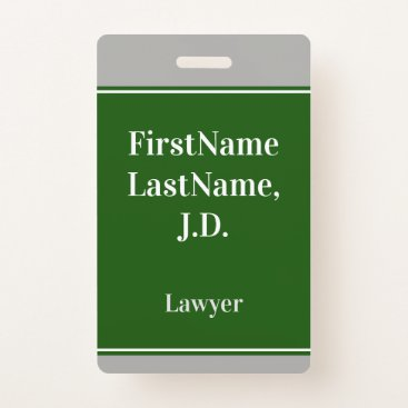 Lawyer Themed Professional, Green, Custom Lawyer Name Badge