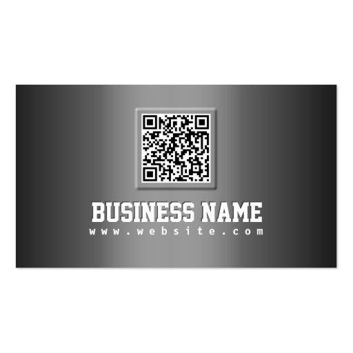 Professional Grey Metallic QR Code Business Card