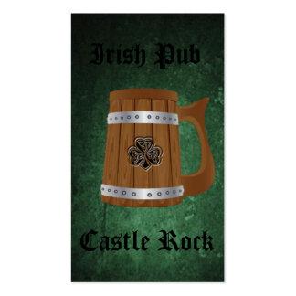 Professional Irish Pub beer mug lucky shamrock Business Card Template
