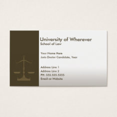 Professional Justice Law Student Business Card at Zazzle