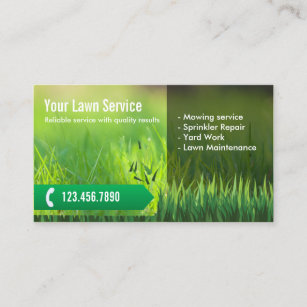 Professional Lawn Care Landscaping Business Card