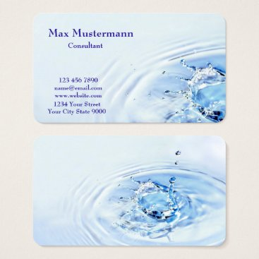 Professional Light Blue Water Splash Business Card