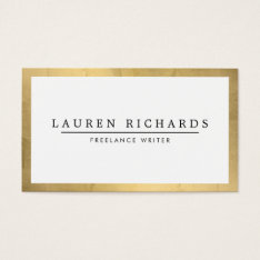 Professional Luxe Faux Gold And White Business Card at Zazzle