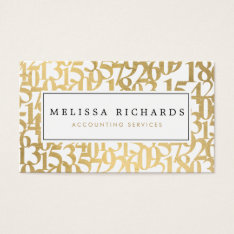Professional Luxe Faux Gold Numbers Accountant Business Card at Zazzle