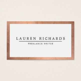Professional Luxe Rose Gold and White Business Card