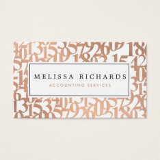 Professional Luxe Rose Gold Numbers Accountant Business Card at Zazzle