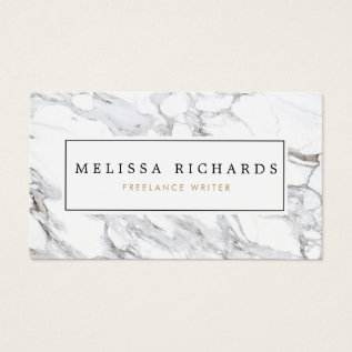 Professional Luxe White Marble Business Card at Zazzle