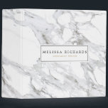 """Professional Luxe White Marble Personalized 3 Ring Binder<br><div class=""""desc"""">Coordinates with the Professional Luxe White Marble Business Card Template by 1201AM. A high-contrast white and gray marbled background provides a luxe aesthetic to on this stylish binder. Your name or business name is elegantly styled in a framed box on the front. The perfect office accessory for chic professionals. Design...</div>"""